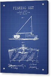 Fishing Net Patent From 1905- Blueprint Acrylic Print by Aged Pixel
