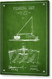 Fishing Net Patent From 1905- Green Acrylic Print by Aged Pixel