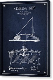 Fishing Net Patent From 1905- Navy Blue Acrylic Print by Aged Pixel