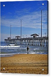 Fishing Next To Jennette's Pier Acrylic Print by Matt Taylor