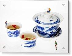 Fishing On Tea Cups Little People On Food Series Acrylic Print by Paul Ge