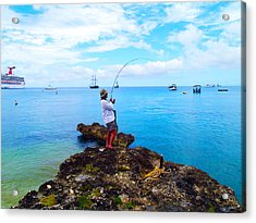 Fishing Paradise Acrylic Print by Carey Chen