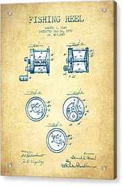 Fishing Reel Patent From 1892 - Vintage Paper Acrylic Print by Aged Pixel