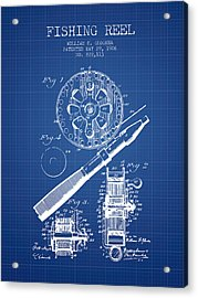 Fishing Reel Patent From 1906 - Blueprint Acrylic Print by Aged Pixel