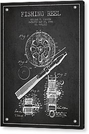 Fishing Reel Patent From 1906 - Charcoal Acrylic Print by Aged Pixel