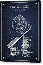 Fishing Reel Patent From 1906 - Navy Blue Acrylic Print by Aged Pixel