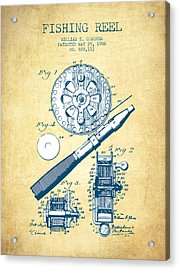 Fishing Reel Patent From 1906 - Vintage Paper Acrylic Print by Aged Pixel