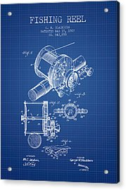 Fishing Reel Patent From 1907 - Blueprint Acrylic Print by Aged Pixel