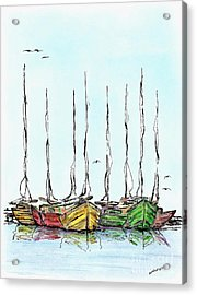 Fishing Sailboats Drawing Pen And Ink Acrylic Print by Mario Perez