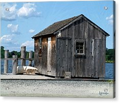 Fishing Shack On The Mystic River Acrylic Print by RC DeWinter