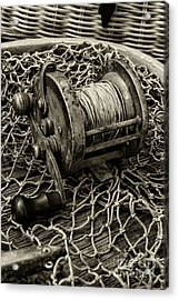 Fishing - That Old Fishing Reel In Black And White Acrylic Print by Paul Ward