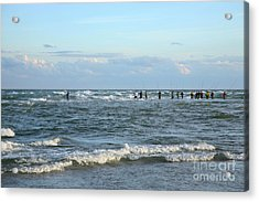 Fishing The Point At Cape Hatteras Acrylic Print by Suzi Nelson