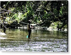 Fishing The Wissahickon Acrylic Print by Bill Cannon