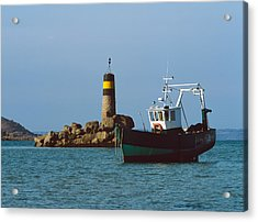 Fishing Trawler In Front Acrylic Print by Panoramic Images
