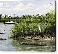 Fishingthe Buffalo Acrylic Print by Jim Ziemer