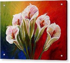 Five Cala Lillies Print Acrylic Print by Mary Jo Zorad