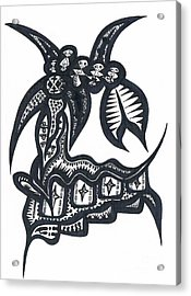 Five For Four From Soul Beings From Heaven Black On White Acrylic Print by Robert Prins