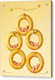 Five Gold Rings Acrylic Print by Anne Geddes