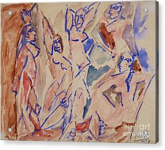 Five Nudes Study Acrylic Print by Pg Reproductions