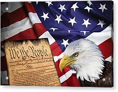 Flag Constitution Eagle Acrylic Print by Daniel Hagerman