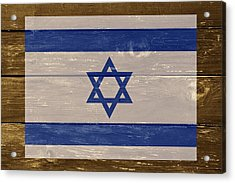 Israel National Flag On Wood Acrylic Print by Movie Poster Prints