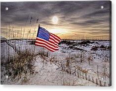 Flag On The Beach Acrylic Print by Michael Thomas