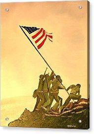 Flag Raising At Iwo Jima Acrylic Print by Dean Glorso