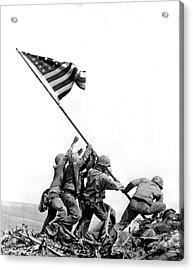Flag Raising At Iwo Jima Acrylic Print by Underwood Archives