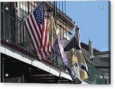 Flags On Bourbon Street Acrylic Print by Donna G Smith
