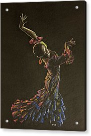 Flamenco Dancer In Flowered Dress Acrylic Print by Martin Howard