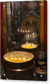 Flames Burning In A Row In Large Bronze Acrylic Print by Keith Levit
