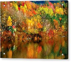 Flaming Autumn Abstract Acrylic Print by Georgiana Romanovna