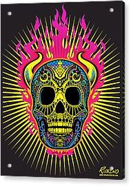 Flaming Skull Acrylic Print by Tony Rubino