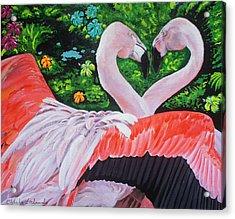 Flamingo Paradise Acrylic Print by Chikako Hashimoto Lichnowsky