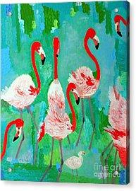 Flamingos 1 Acrylic Print by Vicky Tarcau