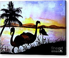 Flamingos  Acrylic Print by Laneea Tolley