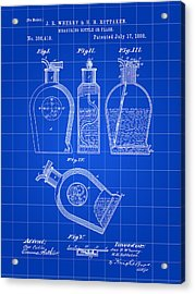 Flask Patent 1888 - Blue Acrylic Print by Stephen Younts