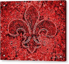 Fleur De Lis Red Ice Acrylic Print by Janine Riley