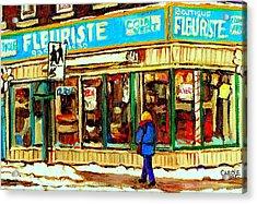 Fleuriste Notre Dame Flower Shop Paintings Carole Spandau Winter Scenes Acrylic Print by Carole Spandau