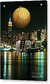 Flight Over The New York Skyline On A Hot Air Balloon Acrylic Print by Marvin Blaine