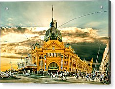 Flinders St Station Acrylic Print by Az Jackson