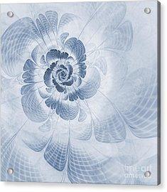 Floral Impression Cyanotype Acrylic Print by John Edwards