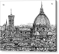 Florence Duomo In Ink  Acrylic Print by Adendorff Design