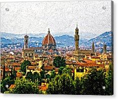 Florence Impasto Acrylic Print by Steve Harrington