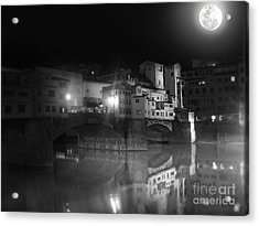 Florence Italy - Ponte Vecchio At Night Acrylic Print by Gregory Dyer