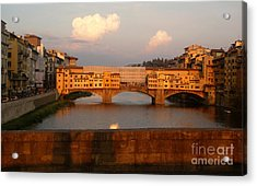 Florence Italy - Ponte Vecchio - Sunset - 01 Acrylic Print by Gregory Dyer