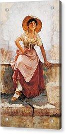 Florentine Flower Girl Acrylic Print by Frank Duveneck