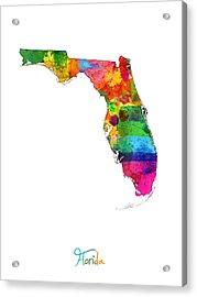 Florida Map Acrylic Print by Michael Tompsett