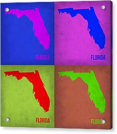 Florida Pop Art Map 1 Acrylic Print by Naxart Studio