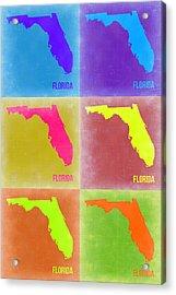 Florida Pop Art Map 2 Acrylic Print by Naxart Studio